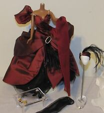 Moonlight Waltz Barbie Outfit Fashion Only Burgundy & Black Gown Dress, Headband