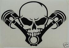 Skull and pistons autocollant/autocollant planche à voile/motard/véhicules/goth