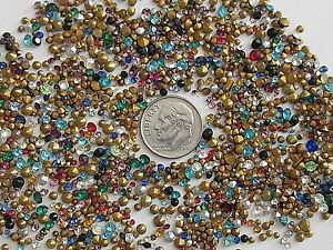 1000 TINY VTG GLASS RHINESTONES COLORED AB CLEAR AUSTRIA CZECH PRECIOSA HUGE LOT