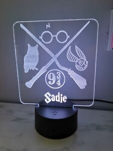 Personalised Harry Potter acrylic LED light night. Bedroom side lamp remote