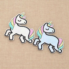 Lot of 2 Multi-color Unicorn Embroidered Patches Appliques Iron Sew on Patch DIY