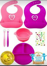Baby Feeding Set: Silicone Bib, Bowls Sunction, Spoons, Divided Plate