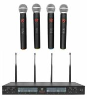 Rockville RWM90U UHF (4) Wireless HandHeld Microphones 4 Church Sound Systems