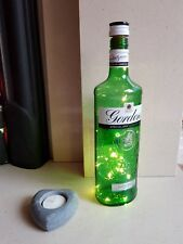 Upcycled LED Gordon's Gin 70Cl Bottle Lamp in Warm White inc 3 FREE Batteries