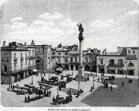 Palazzo Comunale .Lecce.Salento.Puglia.Stampa Antica Maglie Passepartout.1901