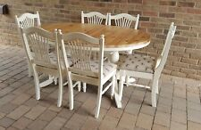 QUALITY SHABBY CHIC LARGE DUCAL SOLID PINE EXTENDING TABLE & 6 MATCHING CHAIRS.