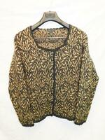 Nomadic Traders L Black Brown Cardigan Sweater Cotton Knit Button Front Woman lg