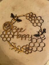 Mdf Bee Happy circle, Ready To Decorate,Laser craft