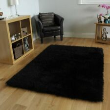 "Affordable Plain Black Sparkly Super Soft Shag Pile Rug 5'3"" x 7'7"""