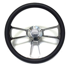"Chevy C10 Pick Up Truck 14"" Black & Billet Steering Wheel with Chevy Horn"