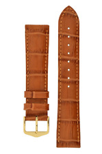22MM Hirsch DUKE Alligator Embossed Leather Watch Strap HONEY COLOR (NEW)