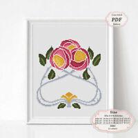 Art Nouveau Rose Flowers Floral borders Embroidery Cross stitch PDF Pattern 115