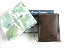 Tommy Bahama Mens Aruba Trifold I.D. Holder Leather Wallet Brown Free Ship NIB