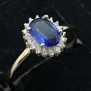 1.00ctw Blue Sapphire & Diamond Cut White Sapphire 14K Yellow Gold 925 Ring SZ 8