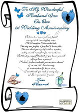 1st WED ANNIVERSARY HUSBAND Personalised Scroll printed on Ivory Parchment paper