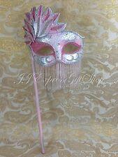 Pink Glitter Hand Held Stick Mask Ball Venetian Masquerade Mask w/Rhinestones