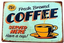 RETRO FRESH BREWED COFFEE (GREEN)  METAL TIN SIGNS vintage cafe pub bar decor