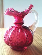 """Cranberry Red Glass Pitcher Ruffle Crimp Edge Applied Clear Handle 5.5"""" tall"""