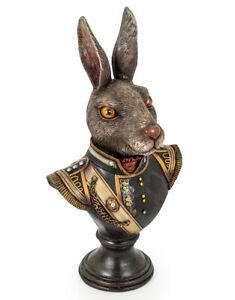 GENTRY RABBIT HEAD ANIMAL MILITARY DRESSED BUST RESIN STATUE FIGURE ART PIECE
