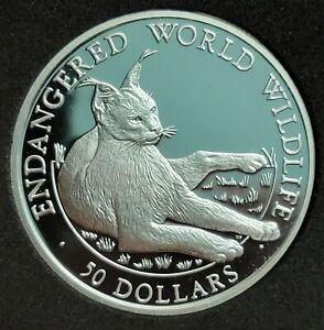 1990 COOK ISLANDS $50 ENDANGERED WILDLIFE SILVER PROOF LYNX CAT ANIMAL