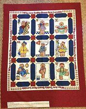 1996 Daisy Kingdom Why Bears Sew Lovable Quilt Fabric Panel