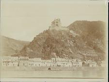 Allemagne, Loreleï, Vue sur le Rocher et le Château, le long du Rhin  Vintage ci
