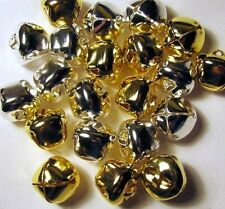 Metal CRAFT BELLS 100  Shiny JINGLE BELLS ~50 each SILVER + GOLD 20mm 3/4""