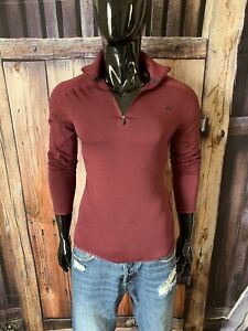 Women's KJUS LS Burgundy 1/2 Zip Pullover Active Pullover Size 40/Large Mint!