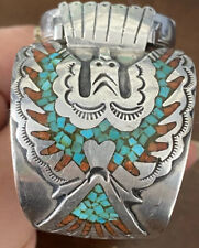 SUPERIOR VINTAGE NAVAJO TURQUOISE CORAL STERLING SILVER MENS WATCH CUFF SIGNED
