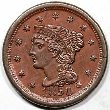1850 N-2 Braided Hair Large Cent Coin 1c