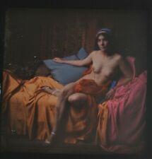 Rare Glass Autochrome Stereoview Photo Art Nude Coloured Tablecloths 130x70mm