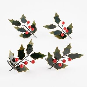 Set of 4 Christmas Holly Cloisonné Napkin Rings by Williams Sonoma #4