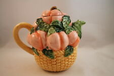 Asia Master Group Peach Teapot with Lid Fruit Porcelain Collectible Basket Weave