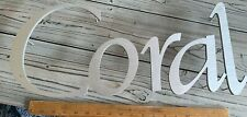 'Coral' Wall Letters Raised Silver Metal Sign Craft or Business Sign