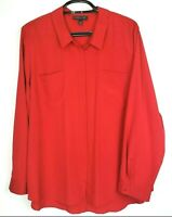 Lane Bryant Red Button Up Shirt Long Sleeve Blouse Top Plus Size 26/28 New