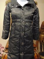 Baby Phat Women's Long insulated winter Coat fax Fur trimmed removable Hood M