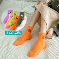 Avocado Fruit Color Socks Women Coral Velvet Warm Winter Soft Fluffy Thick Sock