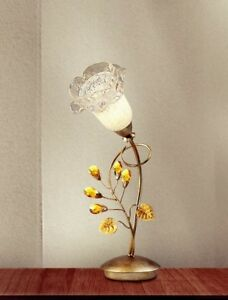 Bedside Lamp Lumetto Classic With Glass And Crystal Silver Gold