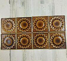 "8 Antique Hamilton Ohio Sunflower Tiles 4 1/4"" Floral Square Brown Reclaimed"