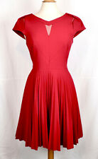 KAREN MILLEN Red Crepe Pleated Dress Cut Out Detail US 10 / UK 14