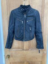 Vintage JJ Williams Black Distressed Womens Leather Biker Jacket S UK10