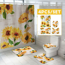 Sunflower Bathroom Mat Pedestal Rug Lid Toilet Cover Shower Curtain Waterproof
