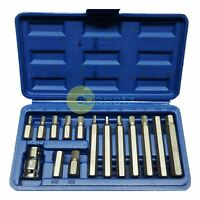 15pc Hex Bit Set Allen Wrench Key Socket Set 1/2 Drive Adaptor In Case 75mm 30mm