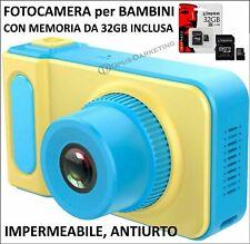 MACCHINA FOTOGRAFICA DIGITALE PER BAMBINI FOTOCAMERA CON MEMORIA INCLUSA 32 GB