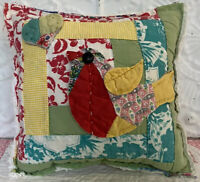 NEW Handmade Bird And Heart Pillow Vintage Quilt Old Chenille Bedspread Cute!!