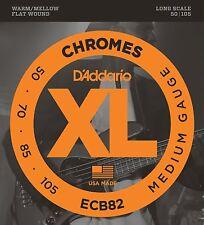 D'Addario ECB82 4-String Flatwound Chromes 50-105 Long Scale Bass Guitar Strings