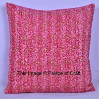 Paisley Kantha Cushion Cover Printed Cotton Ethnic Indian Handmade Pillow Case