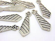 10 Pcs -  30mm Tibetan Silver Neck Tie Charms Jewellery 50 Shades Pendants Q104