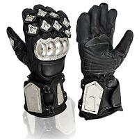Stainless Steel Cow Hide leather Motorcycle Motorbike Waterproof Gloves
