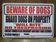 "Metal Warning Guard Dogs Sign For FENCE ,Beware Of Dog 8""x12"" USA Made will bite"